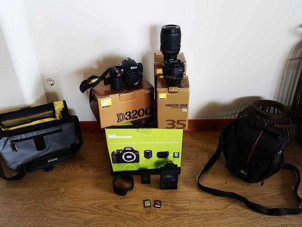 Nikon D3200+2 Lentes+fita+2 bolsas+Bateria+2 Cartões de memória
