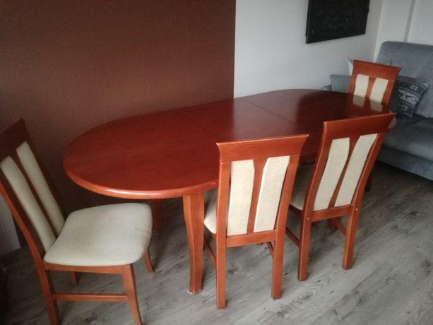 Stół owalny rozkładany + krzesła tapicerowane do salonu