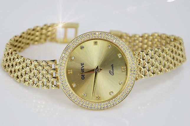 Prześliczny 14k złoty damski zegarek Geneve lw024 K