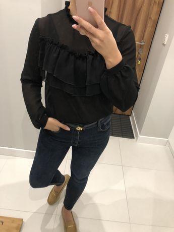 Koszula bluzka czarna falbanki sempre cocomore lalu S