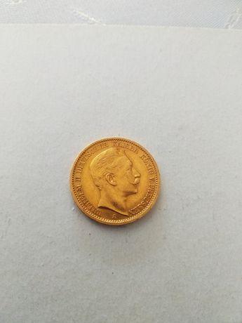 Moneta--20 Marek--1909--złoto--
