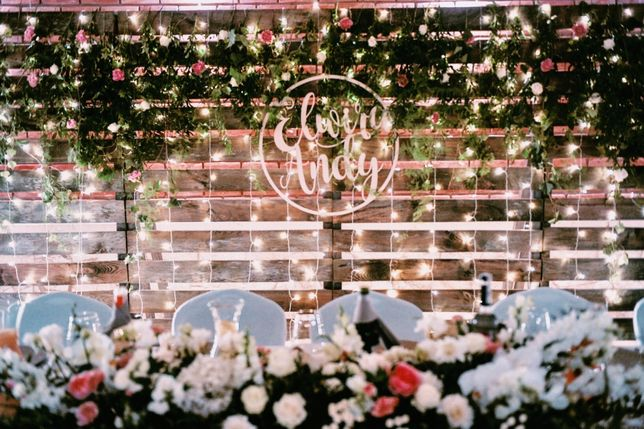 Kurtyna świetlna 3,4m x 2,8m LED wesele ślub rustykalny boho ścianka