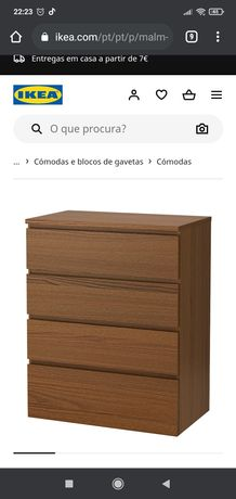 Cômoda Malm Ikea - cor castanha
