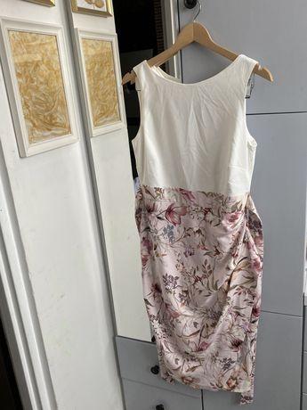 NOWA elegancka wizytowa sukienka w kwiaty wiązanie L wesele