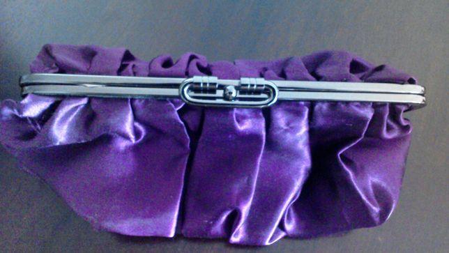 torebka kopertówka bigiel dwustronna fioletowa po wywinięciu złoto