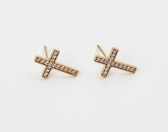 Piękne kolczyki krzyżyk cyrkonie stal nierdzewna złote wkrętki HIT K43