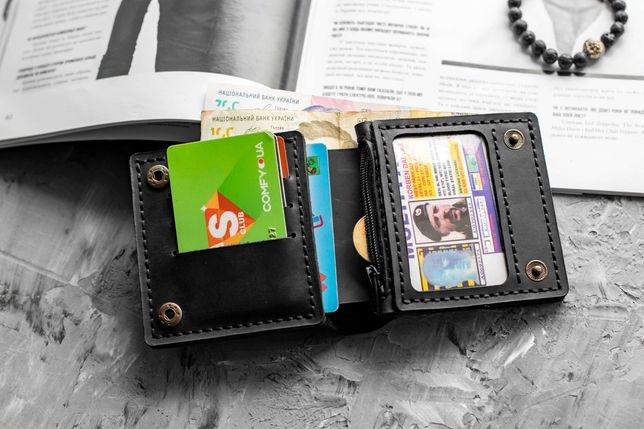 Мужское кожаное портмоне кошелек Plast ручной работы