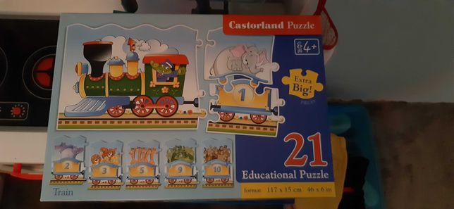 Puzzle z cyferkami pociąg