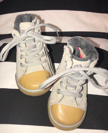 Nowe ZARA buty z kożuszkiem szare rozmiar 18 11,5cm ciepłe nowoczesne