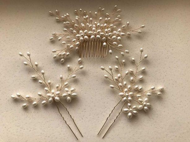 Свадебное украшение для волос, шпильки с жемчугом, гребень.