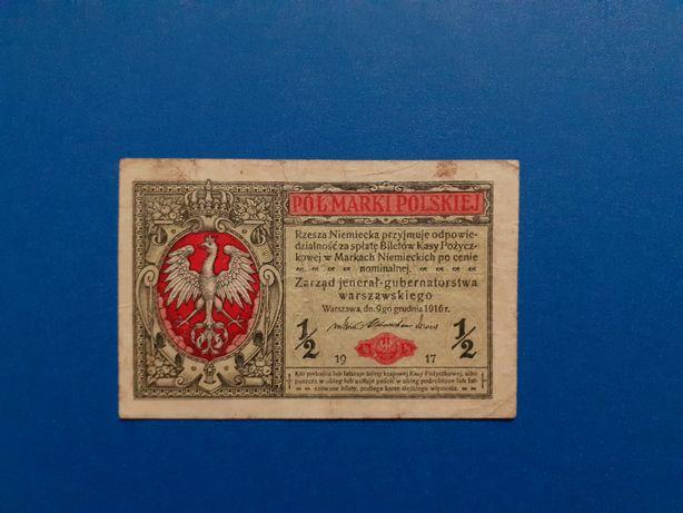 Banknot 1/2 marki polskiej, jenerał, 9.12.1916, (1917)