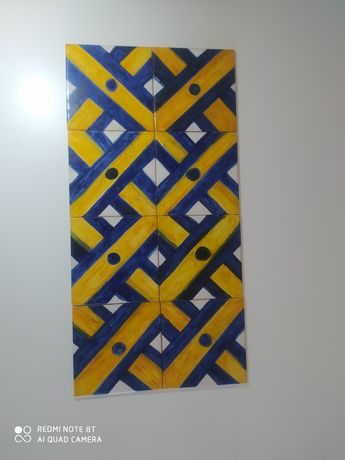 Painel de azulejos pintado á mão desenho séc XVII