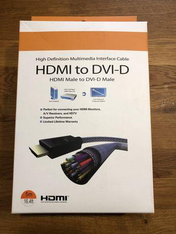 Kabel 5m HDMI - DVI-D dual link 24+1 pin profesjonalny FullHD gold