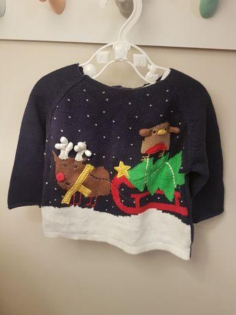 Świąteczny sweterek NEXT 3-6 m 68cm