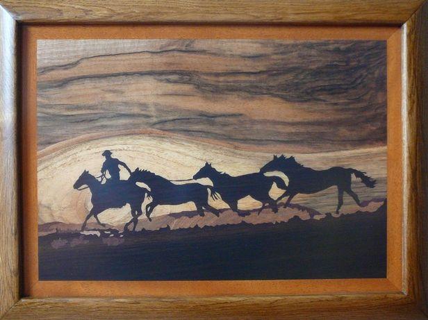 Konie na prerii - Obraz Intarsja - Obrazy Drewnem Malowane - Intarsje