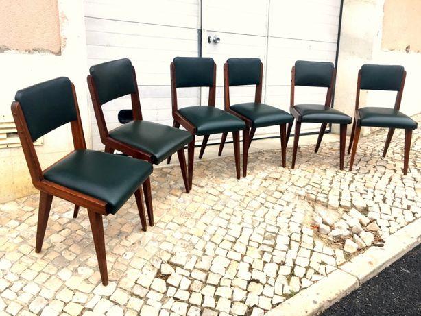 6 Cadeiras estofo verde olaio vintage