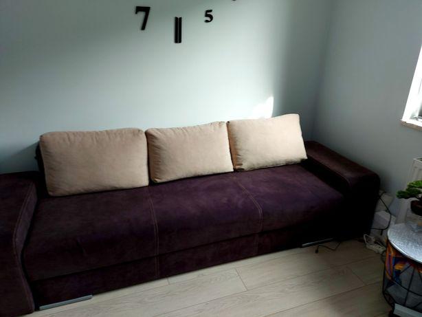 kanapa łóżko z funkcją spania+ 2 pufy