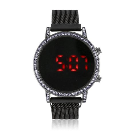 Elegancki zegarek LED magnetyczny pasek czarny elektro cyrkonie Zeg12
