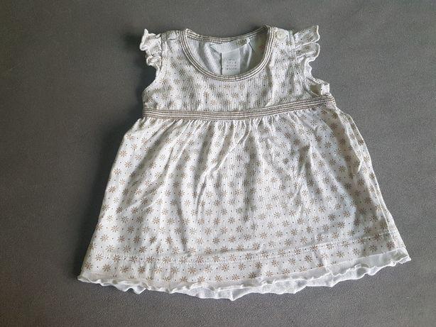 biała sukieneczka w beżowe kwiatki H&M 56cm
