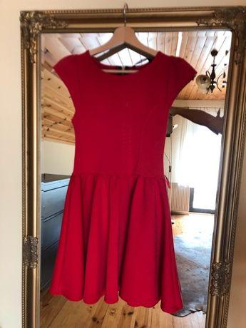 Czerwona sukienka XS/S 34,36 zamek