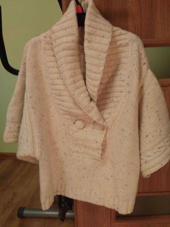 Damski sweter poncho wełna jasny r.40 Nowy