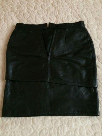 Кожаная женская юбка