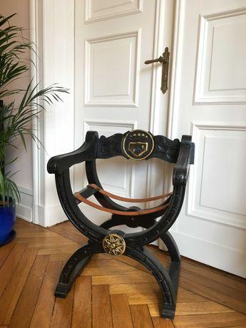 Krzesło nożycowe rycerskie antyk