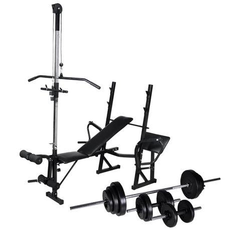 vidaXL Banco musculação c/ suporte p/ pesos + barras e halteres 30,5kg 275365