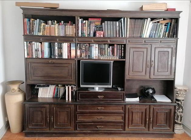 Biblioteca de madeira castanha maciça