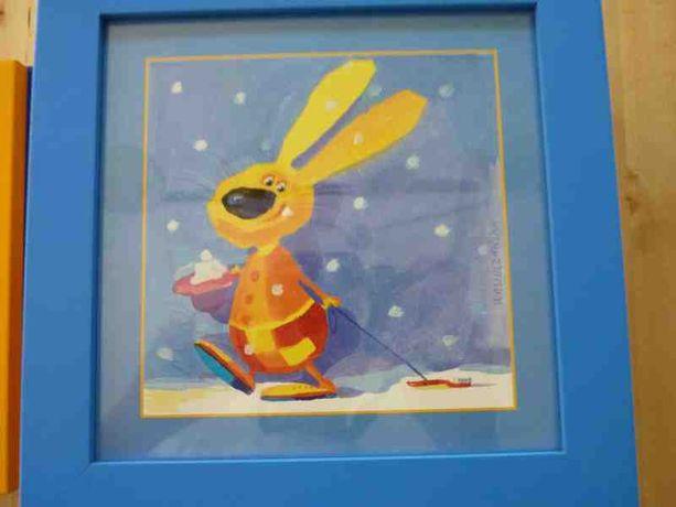 Obraz dziecięcy kolorowe zwierze ta zestaw 10 sztuk stan idealny