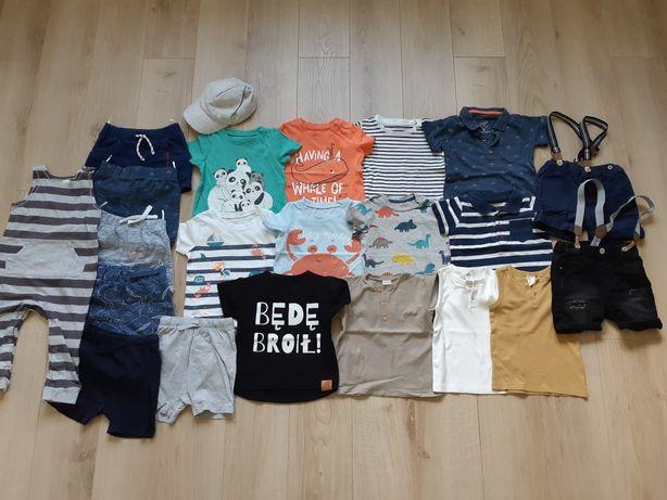 Zestaw letnich ubrań dla chłopca spodenki koszulki H&M C&A 86 cm 22szt