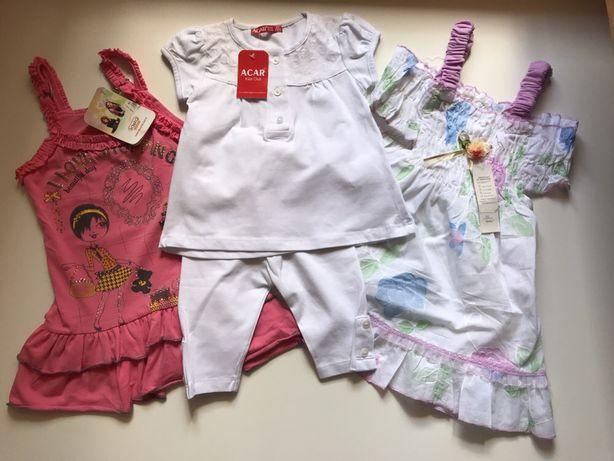 Набор НОВЫХ вещей на девочку 1-2 года( 92 см): 2 платья и комплект