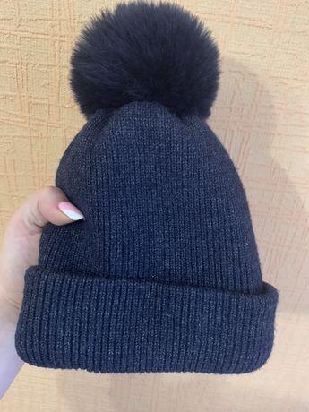 Детская зимняя темно синяя шапка
