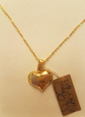 Złoty damski łańcuszek splot anker+ zawieszka pełne serce pr.585. Hit