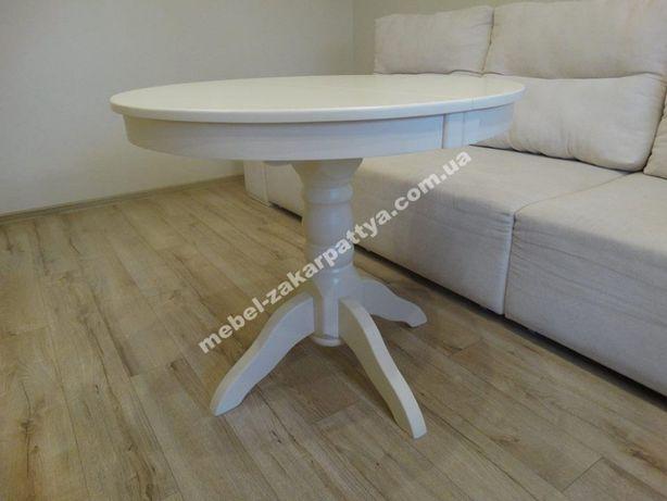 Стол обеденный деревянный. Кухонный круглый раскладной. Белый на ножке