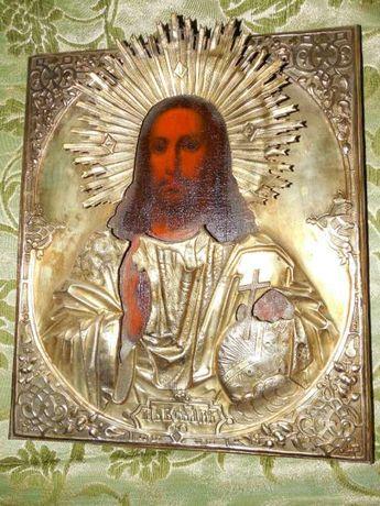 Икона *Спас Державный* ХIХ век,31-26,5см, очень красивый.