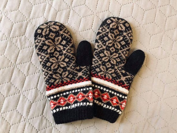 Новые женские теплые черные шерстяные варежки перчатки