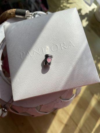 Charms Pandora kubek kawy latte pudrowy róż