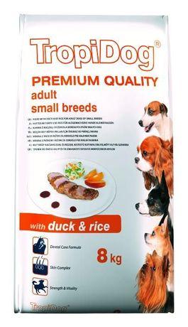 Karma dla psa TROPIDOG Adult 8 kg KACZKA i RYŻ + GRATISY