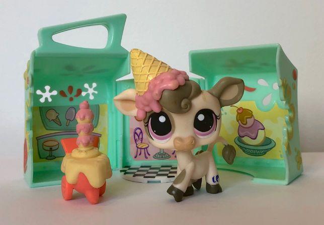 LPS Littlest Pet Shop Hasbro, zestaw lodziarnia krowa unikat