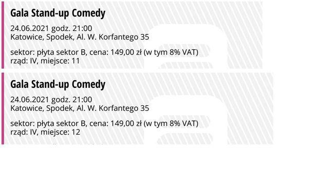 Stand-up Comedy w Katowicach, dwa bilety w dobrych miejscach