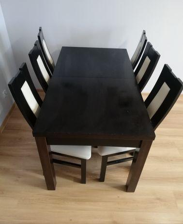 Rozkładany stół + krzesla Wenge
