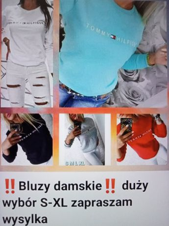 Bluzy damskie z logo Tommy Fila Nike Levi's kolory S-XL!!!