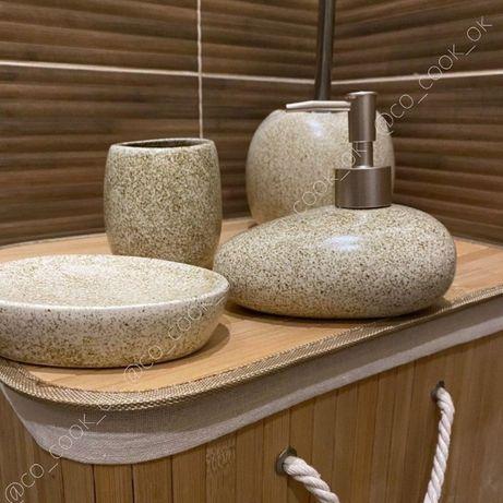 Набор для ванной комнаты (дозатор, мыльница и подставка для щеток)
