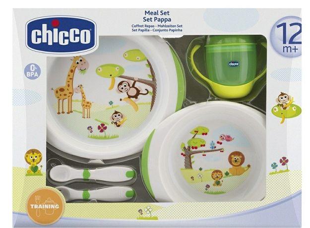 Набор :тарелки,чашка,ложка и вилка chicco