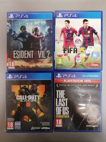 Gry na PS4:Resident Evil2,COD black ops4,The last of us,FIFA 15