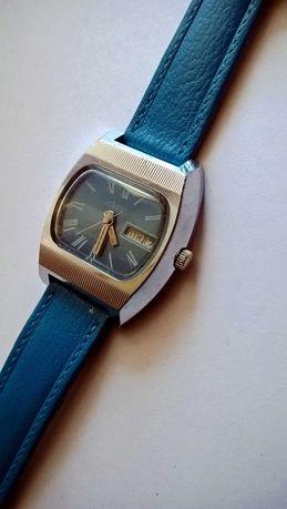 Rakieta niebieska z kalendarzem męski mechaniczny zegarek CCCP