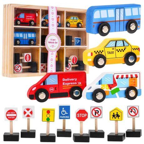 Drewniane Pojazdy zestaw 4sz + Znaki SAWT18166