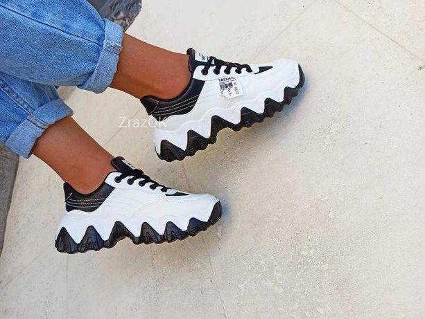 36-40 Белые черные кроссовки кеды криперы осенние эко кожа кожаные