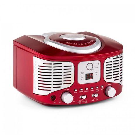 Auna RCD320 odtwarzacz CD w stylu retro UKF AUX czerwony